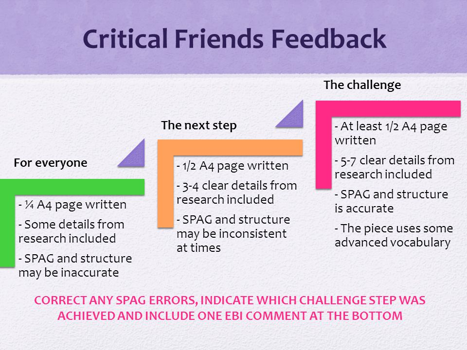 Critical Friends Feedback - ¼ A4 page written - Some details from research included - SPAG and structure may be inaccurate - 1/2 A4 page written - 3-4 clear details from research included - SPAG and structure may be inconsistent at times - At least 1/2 A4 page written - 5-7 clear details from research included - SPAG and structure is accurate - The piece uses some advanced vocabulary For everyone The next step The challenge CORRECT ANY SPAG ERRORS, INDICATE WHICH CHALLENGE STEP WAS ACHIEVED AND INCLUDE ONE EBI COMMENT AT THE BOTTOM