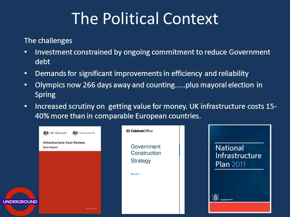 The Political Context The challenges Investment constrained by ongoing commitment to reduce Government debt Demands for significant improvements in efficiency and reliability Olympics now 266 days away and counting.....plus mayoral election in Spring Increased scrutiny on getting value for money.