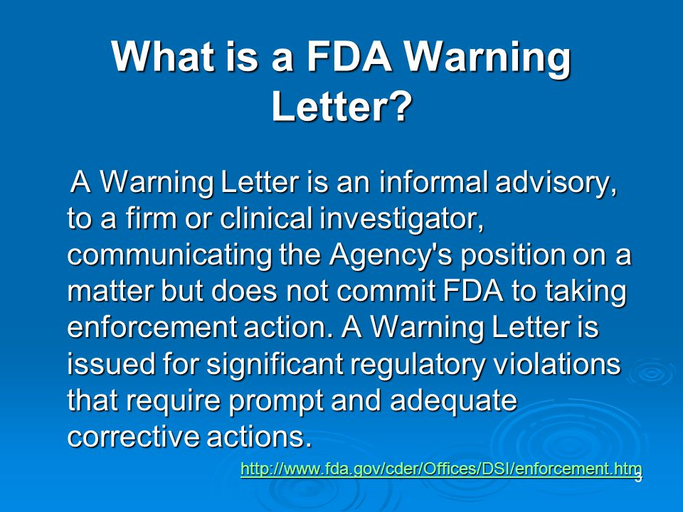 What is a FDA Warning Letter.