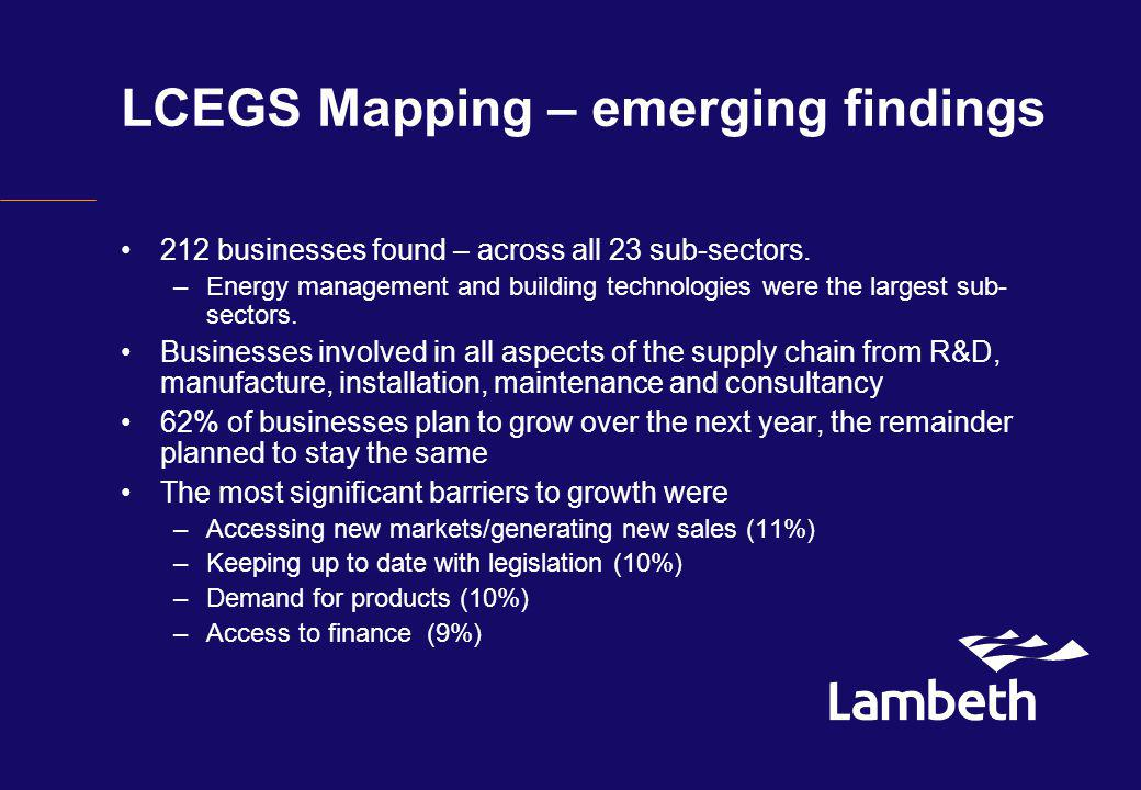 LCEGS Mapping – emerging findings 212 businesses found – across all 23 sub-sectors.