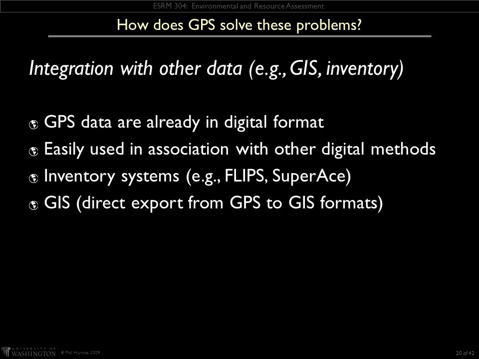ESRM 304: Environmental and Resource Assessment © Phil Hurvitz, 2009 How does GPS solve these problems.