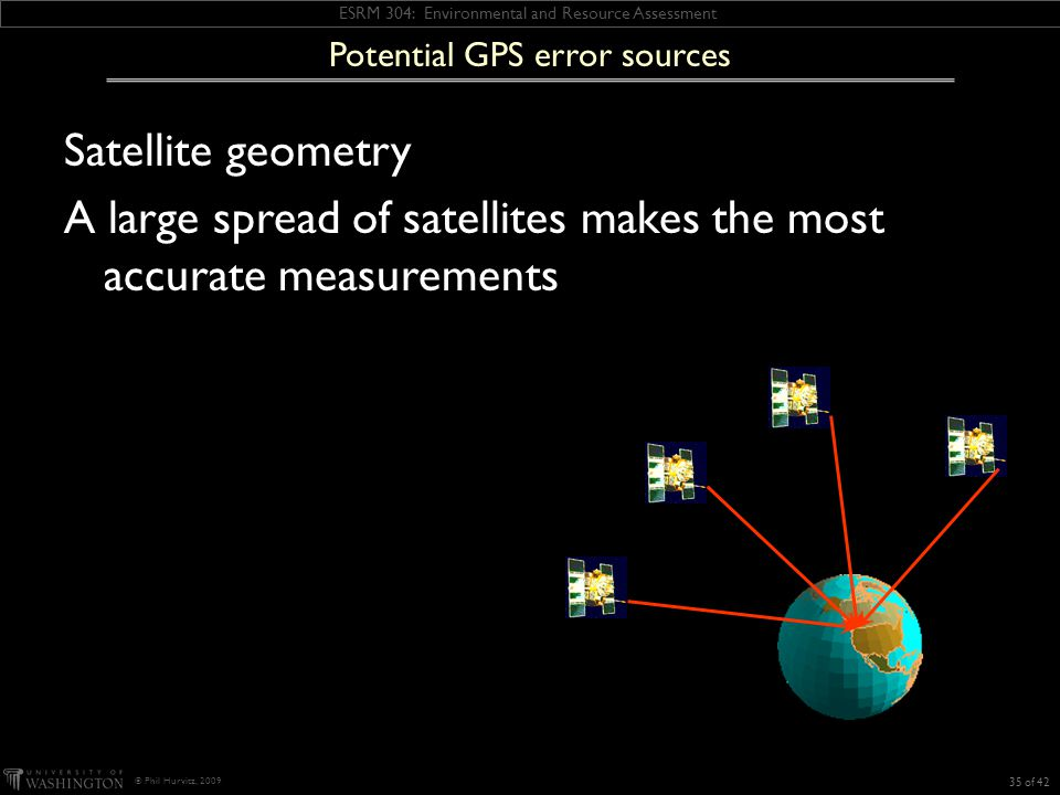 ESRM 304: Environmental and Resource Assessment © Phil Hurvitz, 2009 Potential GPS error sources Satellite geometry A large spread of satellites makes the most accurate measurements 35 of 42