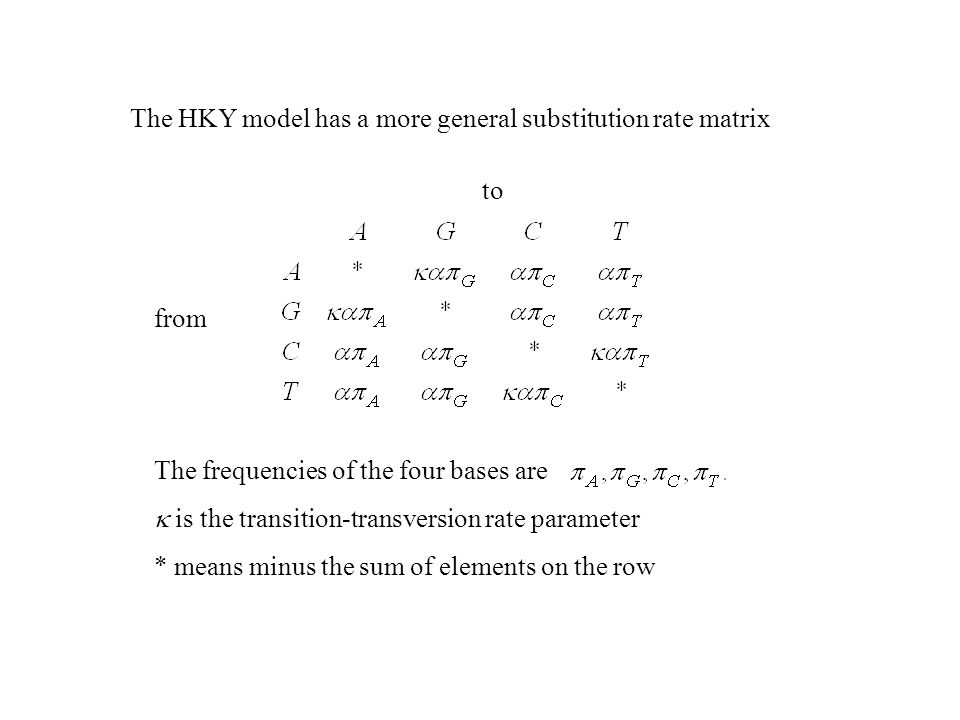 The HKY model has a more general substitution rate matrix to from The frequencies of the four bases are is the transition-transversion rate parameter * means minus the sum of elements on the row