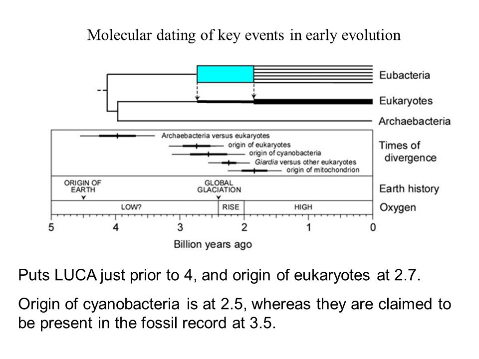 Puts LUCA just prior to 4, and origin of eukaryotes at 2.7.