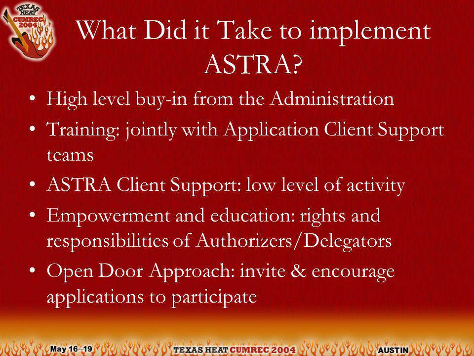 What Did it Take to implement ASTRA.