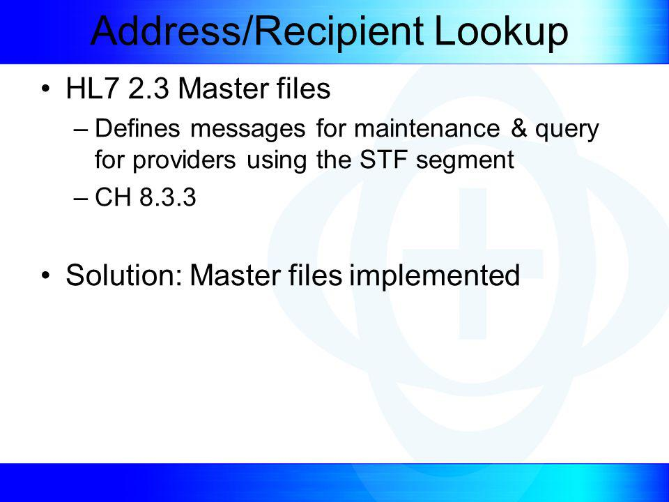 Address/Recipient Lookup HL7 2.3 Master files –Defines messages for maintenance & query for providers using the STF segment –CH 8.3.3 Solution: Master files implemented
