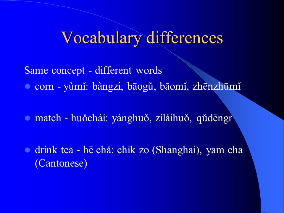 Vocabulary differences Same concept - different words corn - yùmǐ: bàngzi, bāogǔ, bāomǐ, zhēnzhūmǐ match - huǒchái: yánghuǒ, zìláihuǒ, qǔdēngr drink tea - hē chá: chik zo (Shanghai), yam cha (Cantonese)