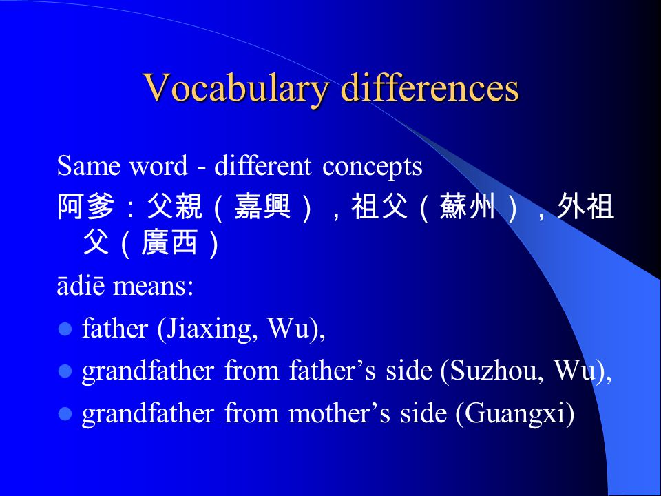 Vocabulary differences Same word - different concepts ādiē means: father (Jiaxing, Wu), grandfather from fathers side (Suzhou, Wu), grandfather from mothers side (Guangxi)