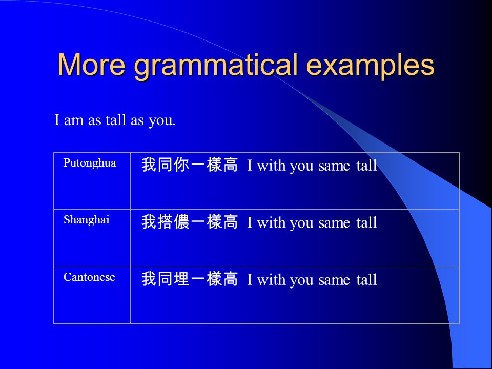 More grammatical examples I am as tall as you.
