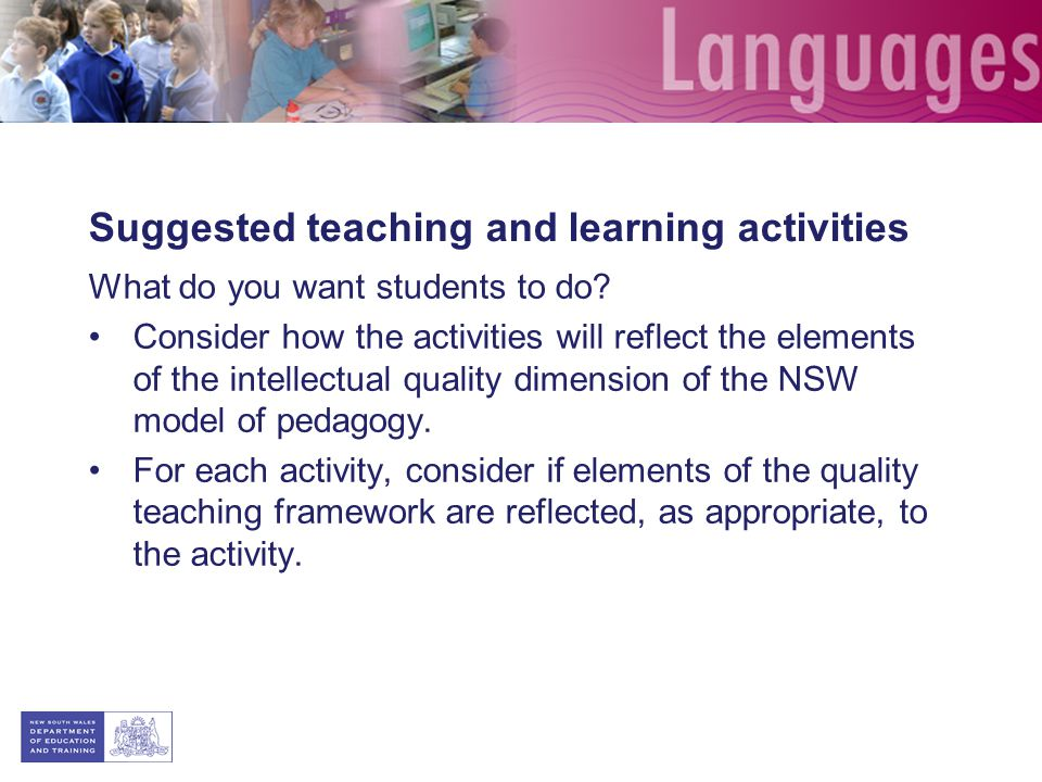 Suggested teaching and learning activities What do you want students to do.