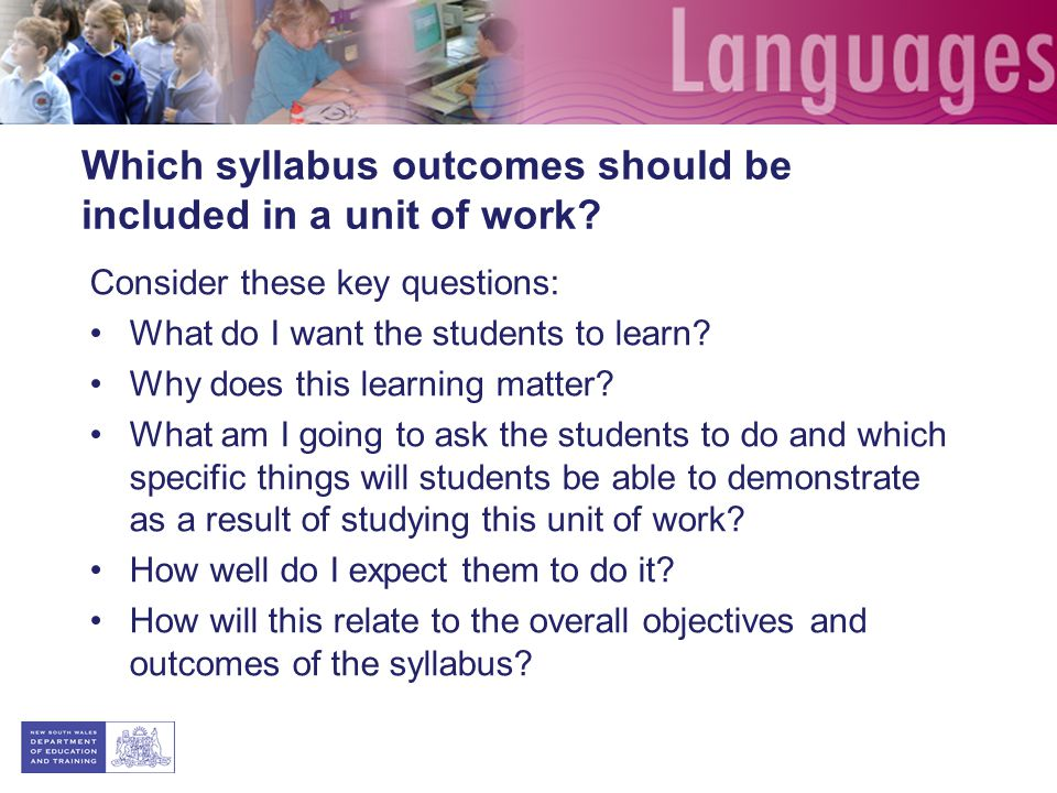 Which syllabus outcomes should be included in a unit of work.