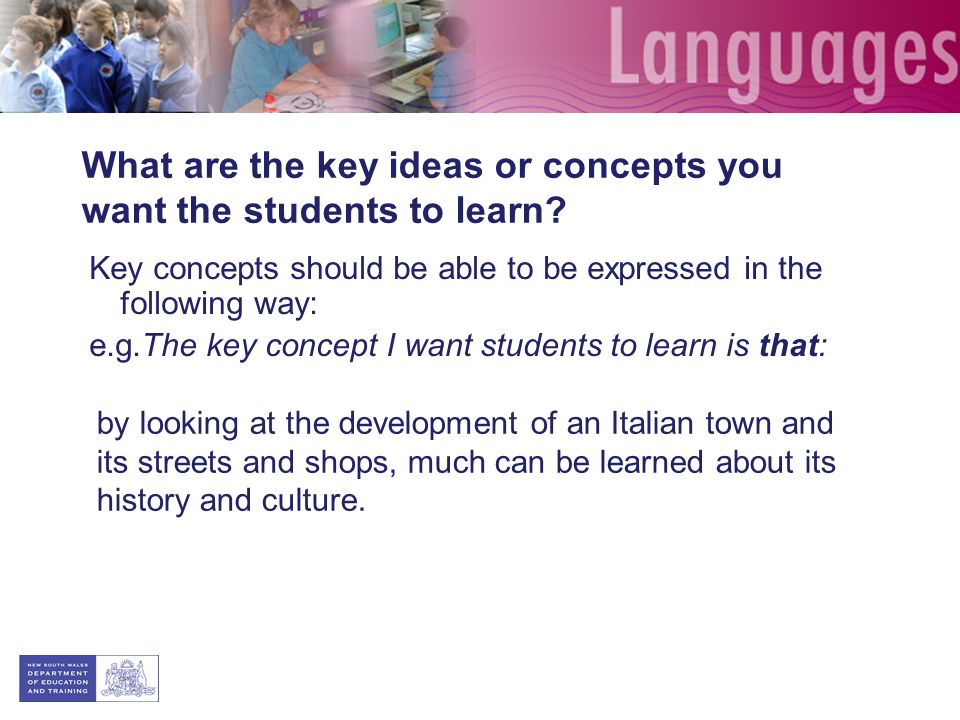 What are the key ideas or concepts you want the students to learn.