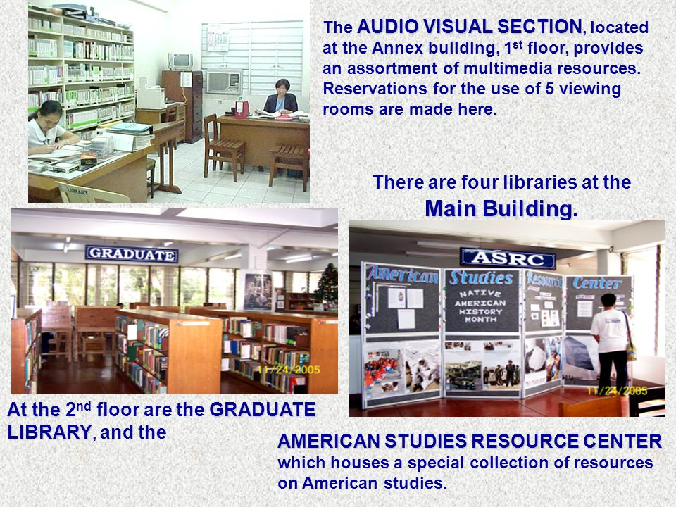 AUDIO VISUAL SECTION The AUDIO VISUAL SECTION, located at the Annex building, 1 st floor, provides an assortment of multimedia resources.