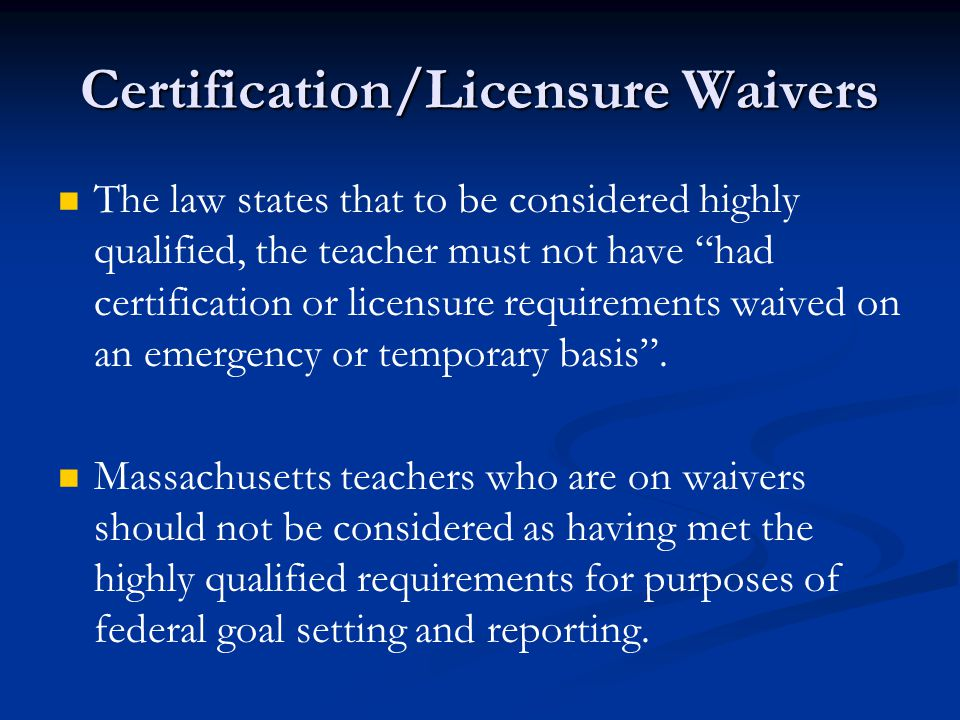 Implementation Of Nclbs Highly Qualified Teacher Requirements