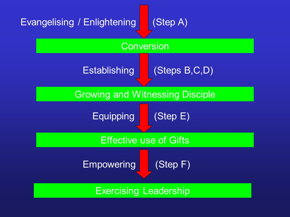 Evangelising / Enlightening (Step A) Conversion Establishing (Steps B,C,D) Growing and Witnessing Disciple Equipping (Step E) Effective use of Gifts Empowering (Step F) Exercising Leadership