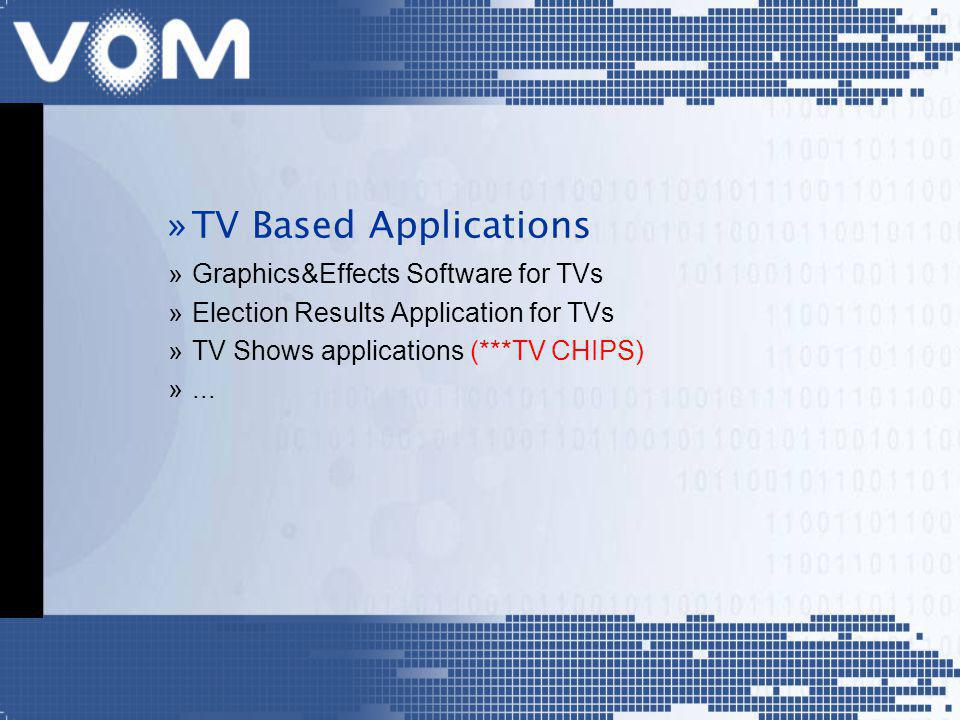 »TV Based Applications »Graphics&Effects Software for TVs »Election Results Application for TVs »TV Shows applications (***TV CHIPS) »...