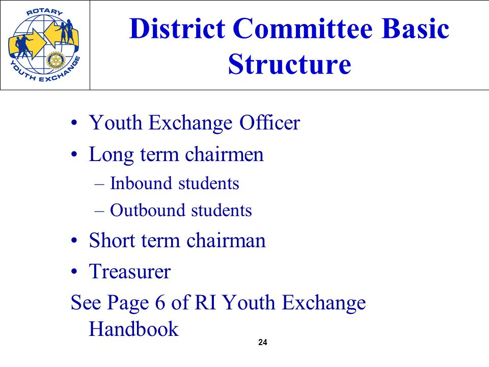 24 District Committee Basic Structure Youth Exchange Officer Long term chairmen –Inbound students –Outbound students Short term chairman Treasurer See Page 6 of RI Youth Exchange Handbook