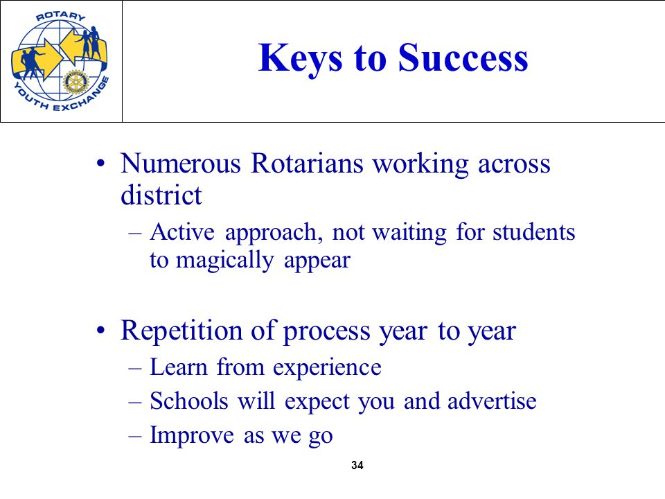 34 Keys to Success Numerous Rotarians working across district –Active approach, not waiting for students to magically appear Repetition of process year to year –Learn from experience –Schools will expect you and advertise –Improve as we go