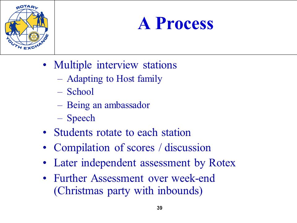 39 A Process Multiple interview stations –Adapting to Host family –School –Being an ambassador –Speech Students rotate to each station Compilation of scores / discussion Later independent assessment by Rotex Further Assessment over week-end (Christmas party with inbounds)