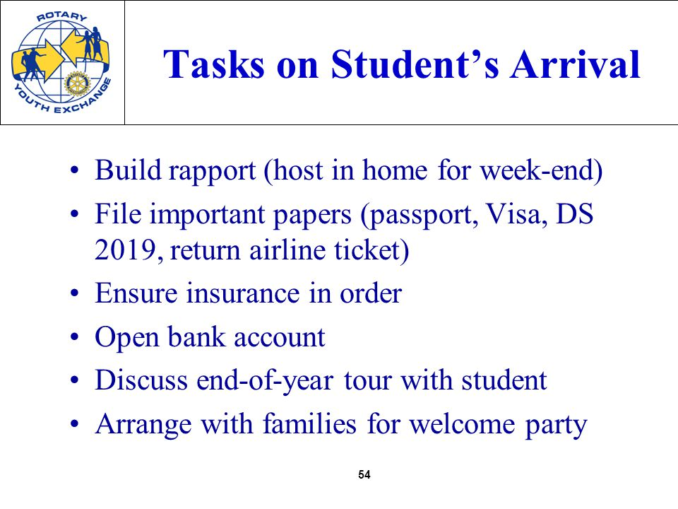 54 Tasks on Students Arrival Build rapport (host in home for week-end) File important papers (passport, Visa, DS 2019, return airline ticket) Ensure insurance in order Open bank account Discuss end-of-year tour with student Arrange with families for welcome party