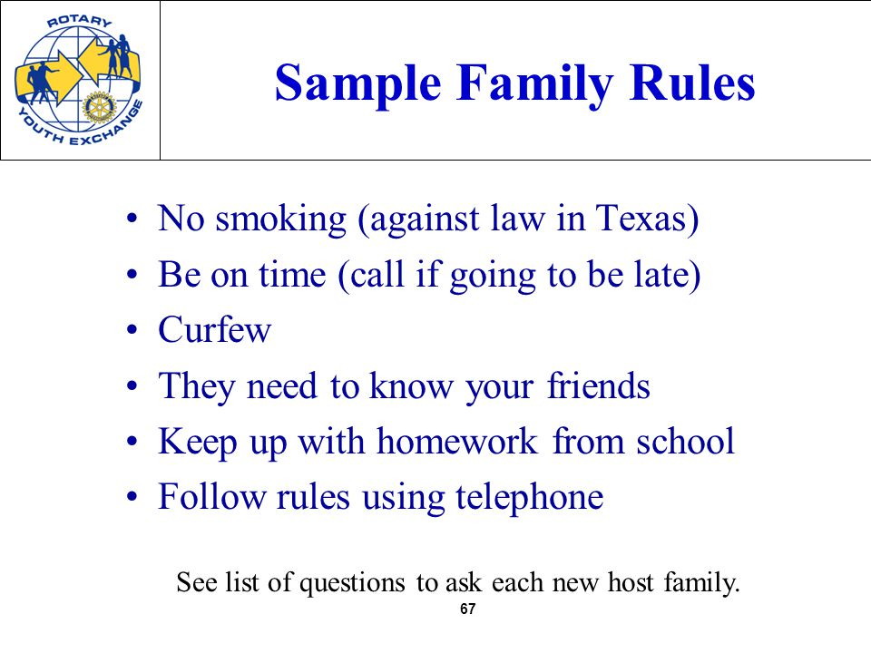 67 Sample Family Rules No smoking (against law in Texas) Be on time (call if going to be late) Curfew They need to know your friends Keep up with homework from school Follow rules using telephone See list of questions to ask each new host family.
