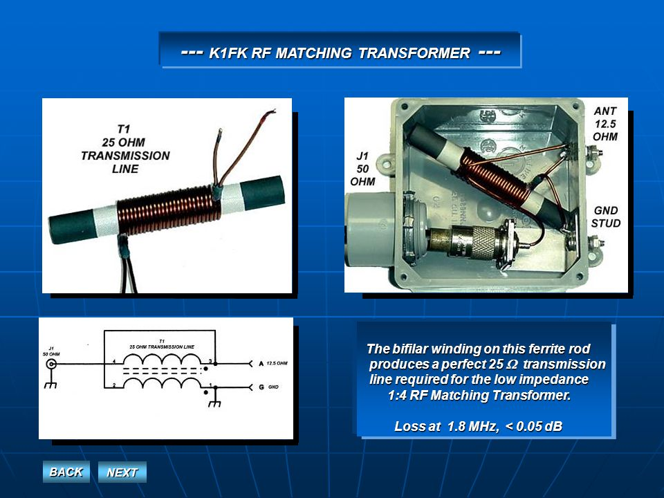 --- K1FK RF MATCHING TRANSFORMER --- The bifilar winding on this ferrite rod produces a perfect 25 transmission produces a perfect 25 transmission line required for the low impedance line required for the low impedance 1:4 RF Matching Transformer.