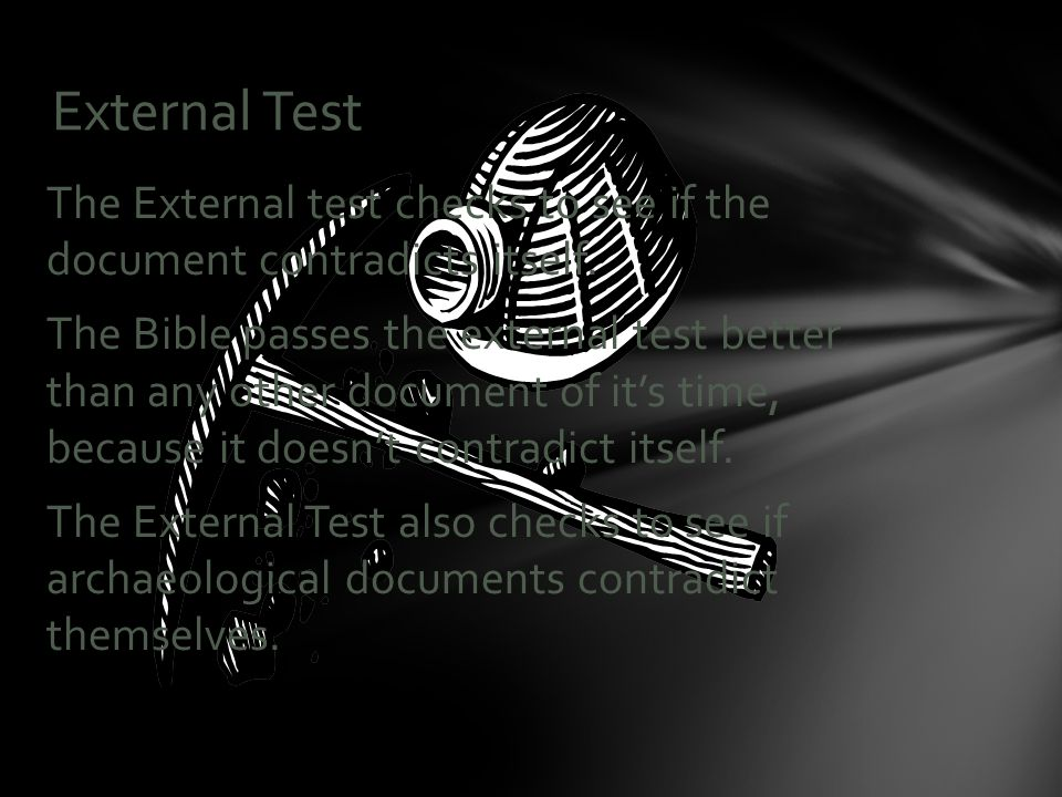 The External test checks to see if the document contradicts itself.