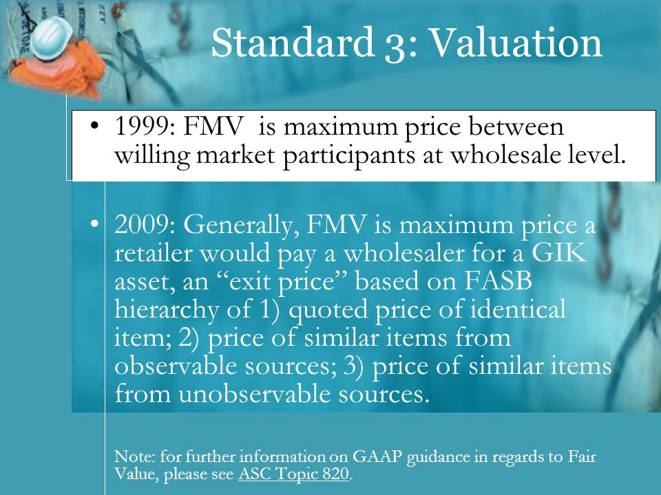 Standard 3: Valuation 1999: FMV is maximum price between willing market participants at wholesale level.