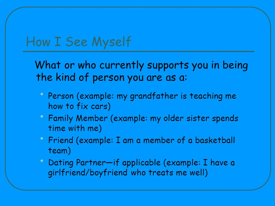 How I See Myself What or who currently supports you in being the kind of person you are as a: Person (example: my grandfather is teaching me how to fix cars) Family Member (example: my older sister spends time with me) Friend (example: I am a member of a basketball team) Dating Partnerif applicable (example: I have a girlfriend/boyfriend who treats me well)