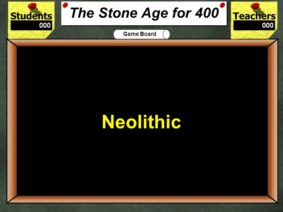 StudentsTeachers Game Board People began to settle permanently in one location in the New Stone Age or… 300 Neolithic Era The Stone Age for 300