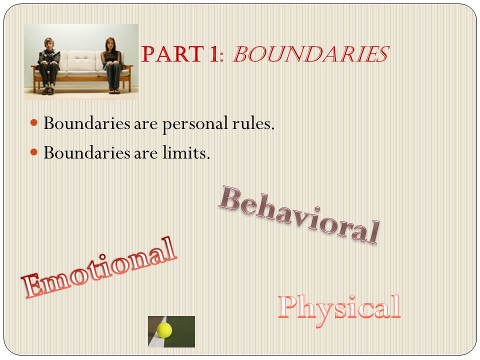 Boundaries are personal rules. Boundaries are limits. Part 1: Boundaries