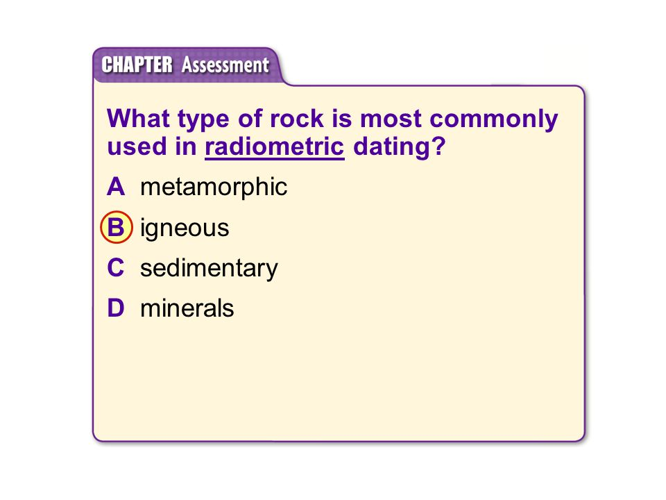 What type of rock is most commonly used in radiometric dating.