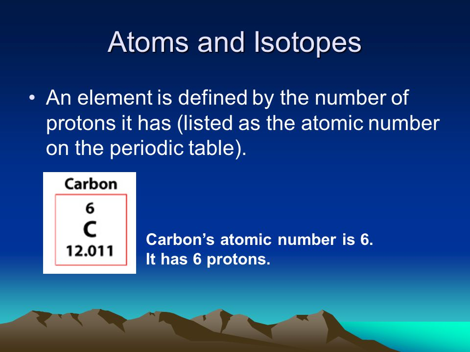 Atoms and Isotopes An element is defined by the number of protons it has (listed as the atomic number on the periodic table).