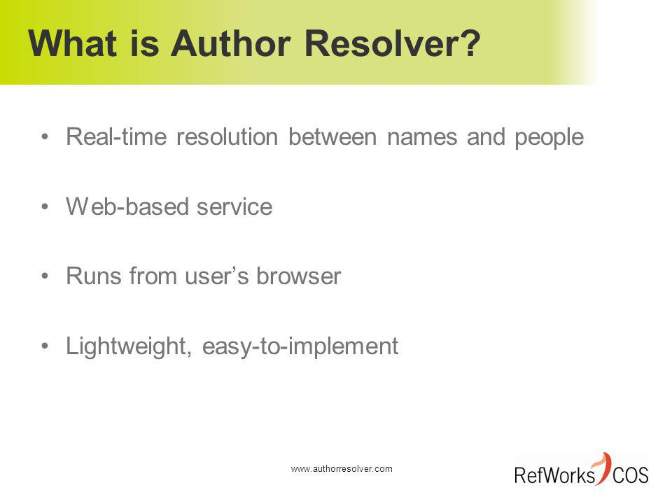 What is Author Resolver.