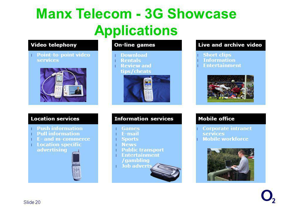 Slide 20 Manx Telecom - 3G Showcase Applications Video telephonyOn-line gamesLive and archive video l Point-to-point video services l Download Download l Rentals Rentals l Review and tips/cheats Review and tips/cheats l Short clips l Information l Entertainment Location servicesInformation servicesMobile office l Games l E-mail l Sports l News l Public transport l Entertainment /gambling l Job adverts l Push information l Pull information l E- and m-commerce l Location specific advertising l Corporate intranet services l Mobile workforce