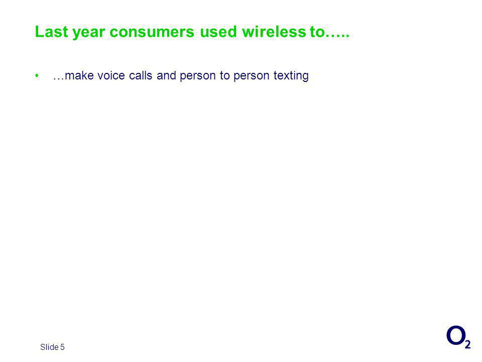 Slide 5 Last year consumers used wireless to….. …make voice calls and person to person texting