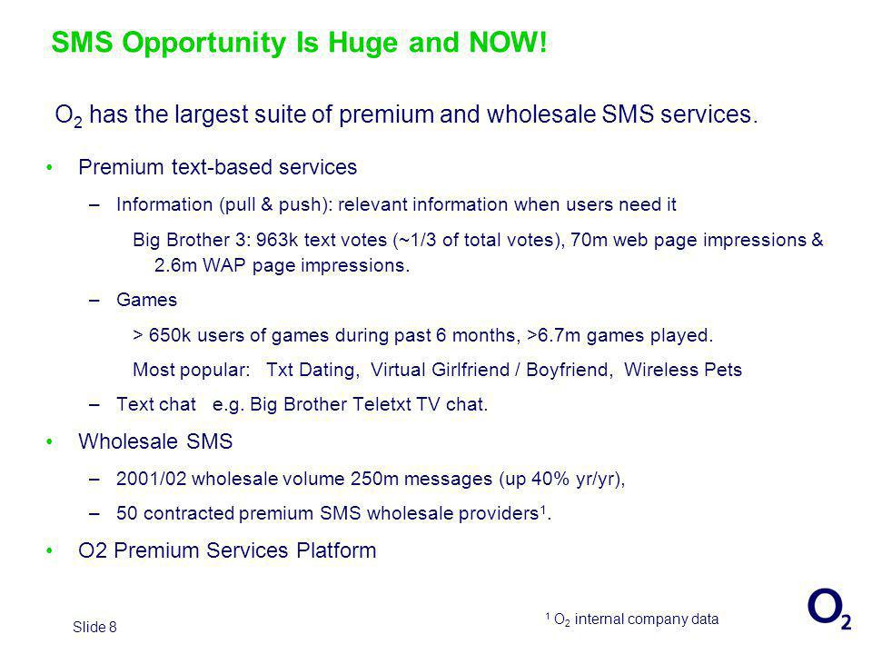 Slide 8 SMS Opportunity Is Huge and NOW.