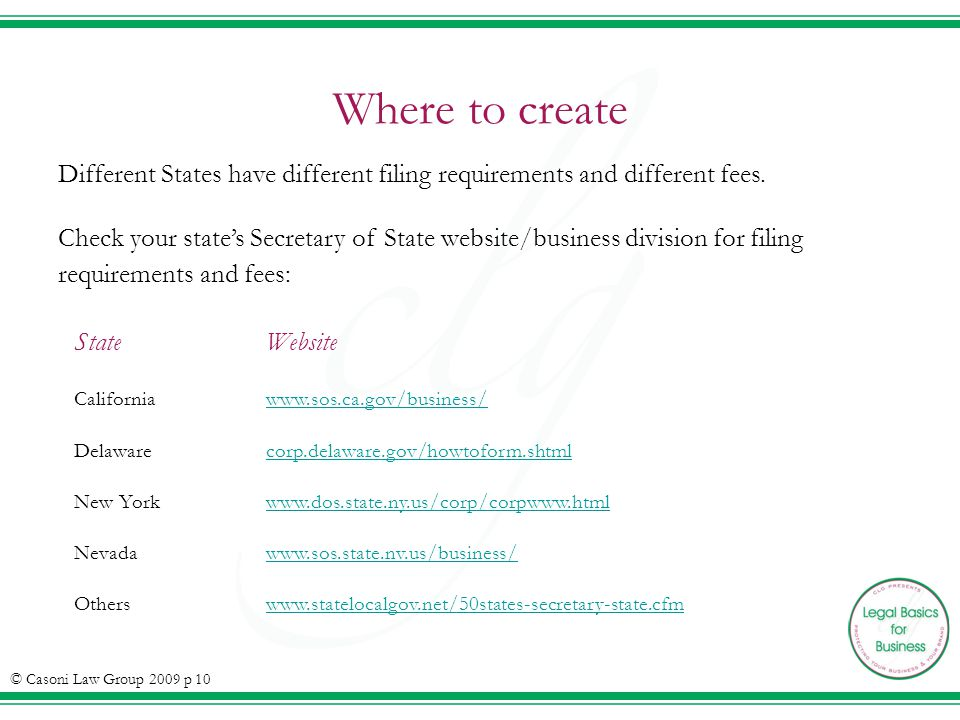 Where to create Different States have different filing requirements and different fees.