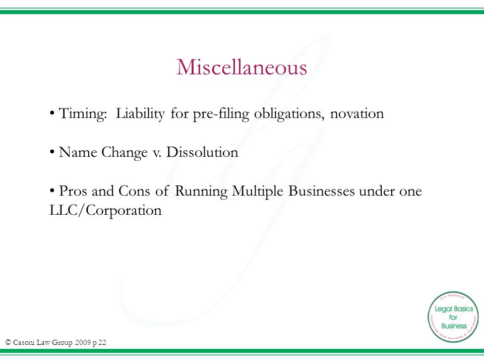 Miscellaneous Timing: Liability for pre-filing obligations, novation Name Change v.