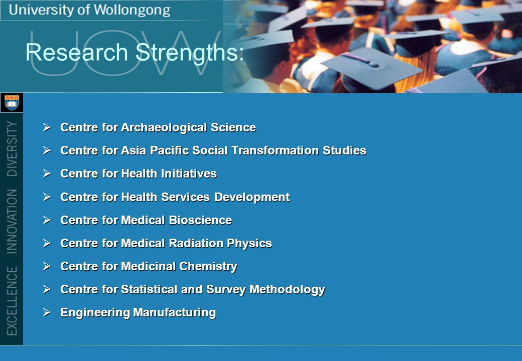 Research Strengths: Centre for Archaeological Science Centre for Archaeological Science Centre for Asia Pacific Social Transformation Studies Centre for Asia Pacific Social Transformation Studies Centre for Health Initiatives Centre for Health Initiatives Centre for Health Services Development Centre for Health Services Development Centre for Medical Bioscience Centre for Medical Bioscience Centre for Medical Radiation Physics Centre for Medical Radiation Physics Centre for Medicinal Chemistry Centre for Medicinal Chemistry Centre for Statistical and Survey Methodology Centre for Statistical and Survey Methodology Engineering Manufacturing Engineering Manufacturing