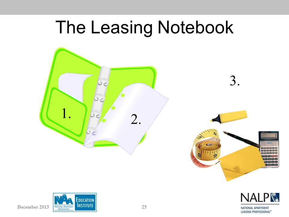 The Leasing Notebook 1. 2. 3. 25December 2013