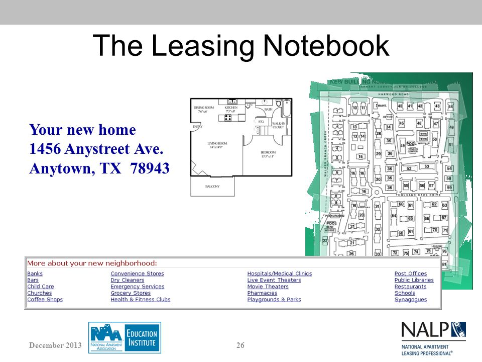 Your new home 1456 Anystreet Ave. Anytown, TX 78943 The Leasing Notebook 26December 2013
