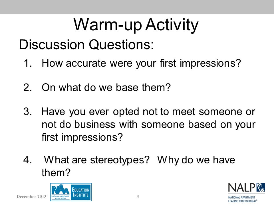 Warm-up Activity 1.How accurate were your first impressions.