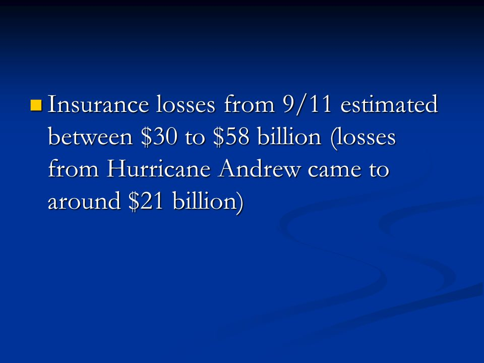 Insurance losses from 9/11 estimated between $30 to $58 billion (losses from Hurricane Andrew came to around $21 billion) Insurance losses from 9/11 estimated between $30 to $58 billion (losses from Hurricane Andrew came to around $21 billion)