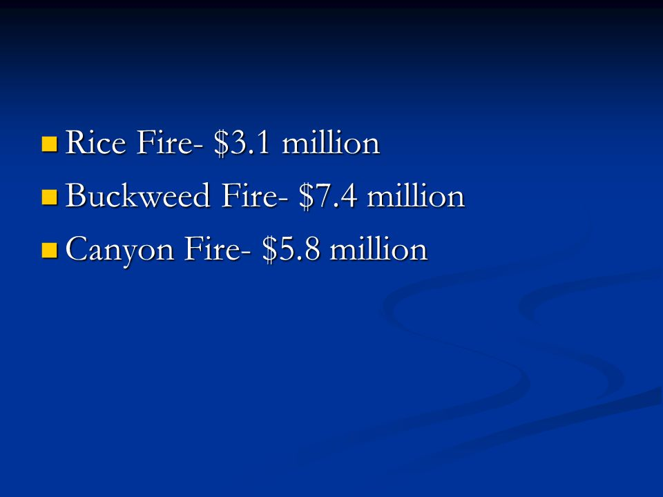 Rice Fire- $3.1 million Rice Fire- $3.1 million Buckweed Fire- $7.4 million Buckweed Fire- $7.4 million Canyon Fire- $5.8 million Canyon Fire- $5.8 million