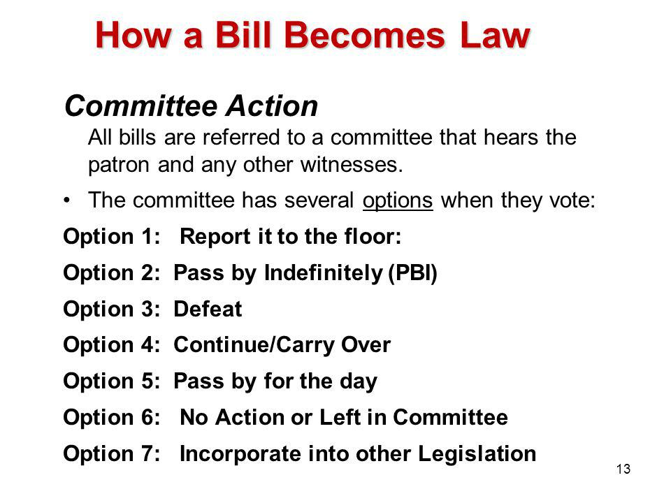 How a Bill Becomes Law Committee Action All bills are referred to a committee that hears the patron and any other witnesses.