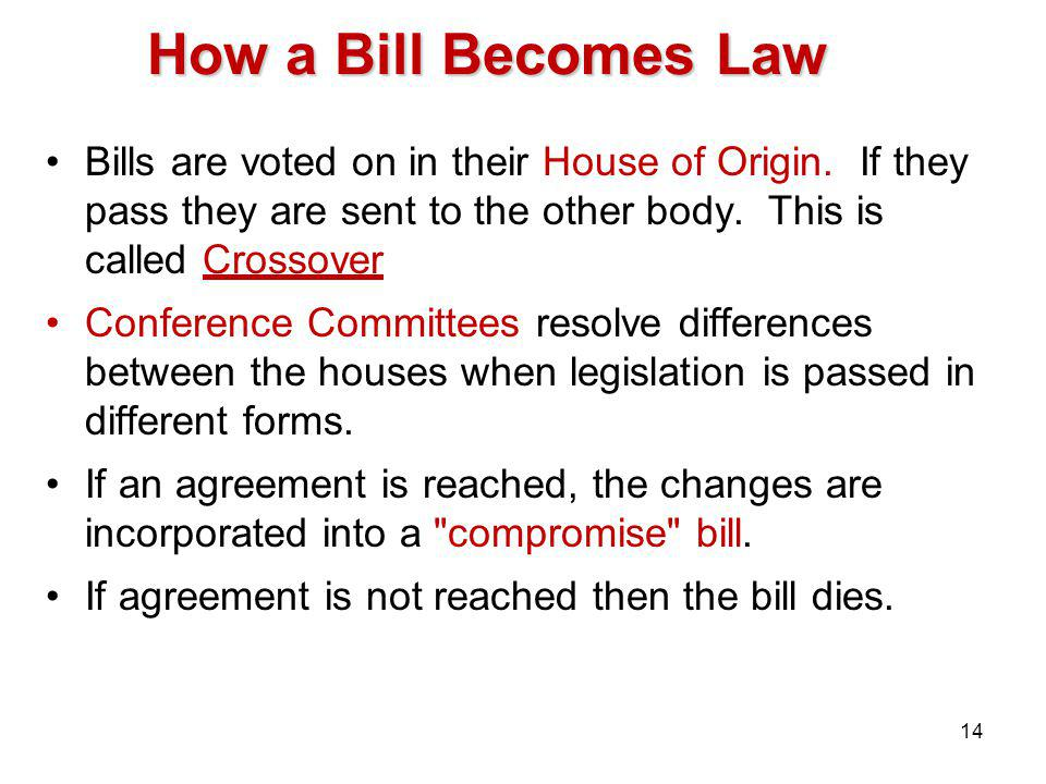 How a Bill Becomes Law Bills are voted on in their House of Origin.