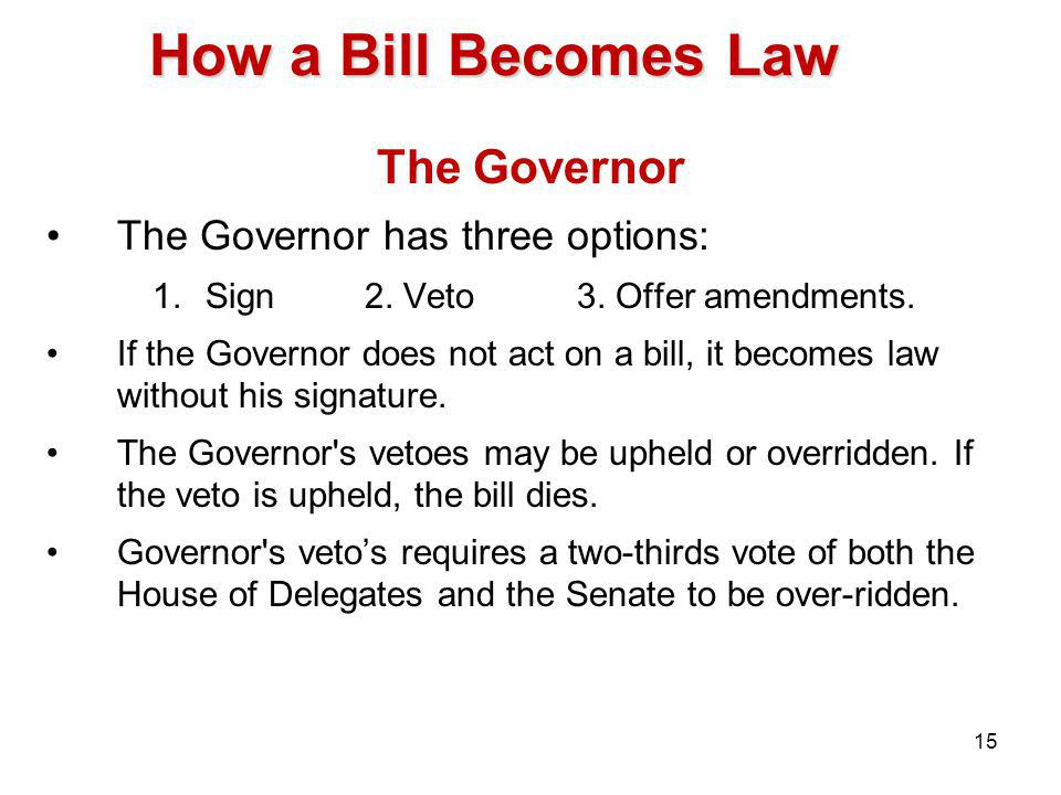 How a Bill Becomes Law The Governor The Governor has three options: 1.Sign2.