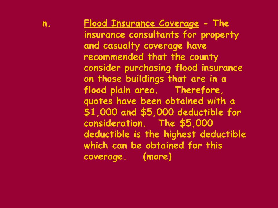 n.Flood Insurance Coverage - The insurance consultants for property and casualty coverage have recommended that the county consider purchasing flood insurance on those buildings that are in a flood plain area.