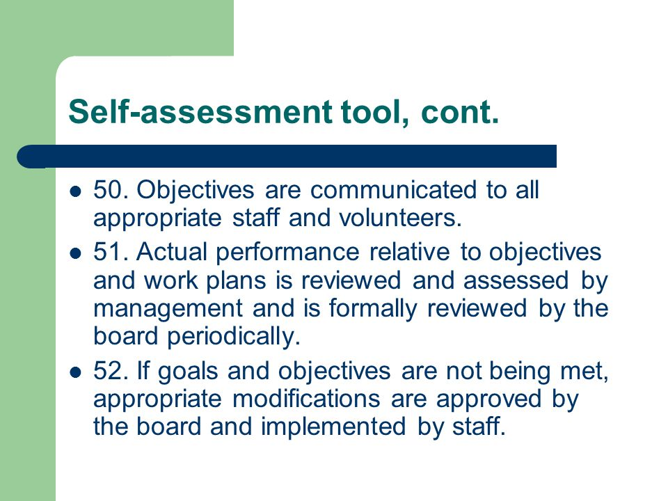 Self-assessment tool, cont. 50.